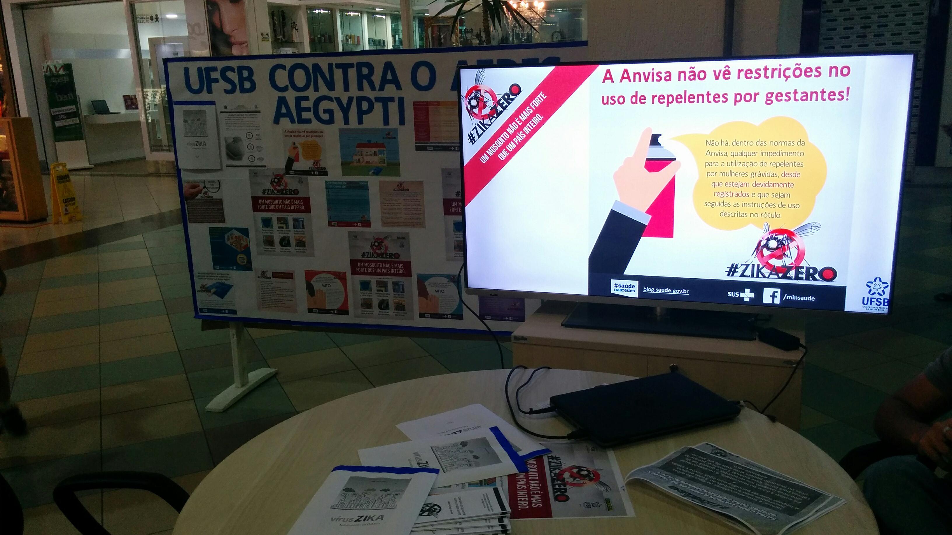 Estande da UFSB com o mural ao fundo e a tela em primeiro plano, com informações sobre o uso de repelente por gestantes