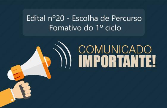 COMUNICADO - PERCURSO FORMATIVO 1 CICLO - PORTAL