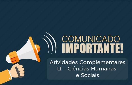 COMUNICADO - ATIVIDADE COMPLEMENTAR - LI Humanas e sociais